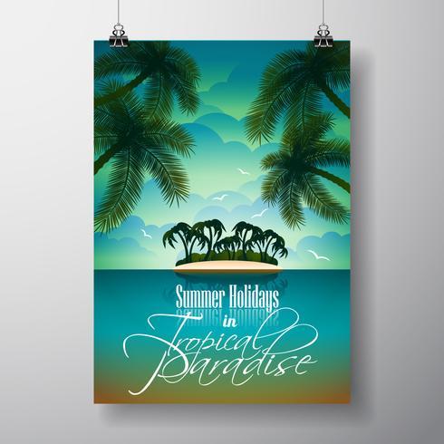 Vektor-Sommerferien-Flieger-Design mit Palmen und Paradise Island