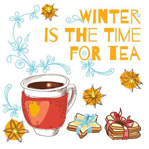 Gebunden mit einer Tasse heißen Tee und Keksen in Form eines Sterns mit blauem Band