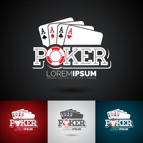 Vector Poker Logo Design Template con elementi di gioco.