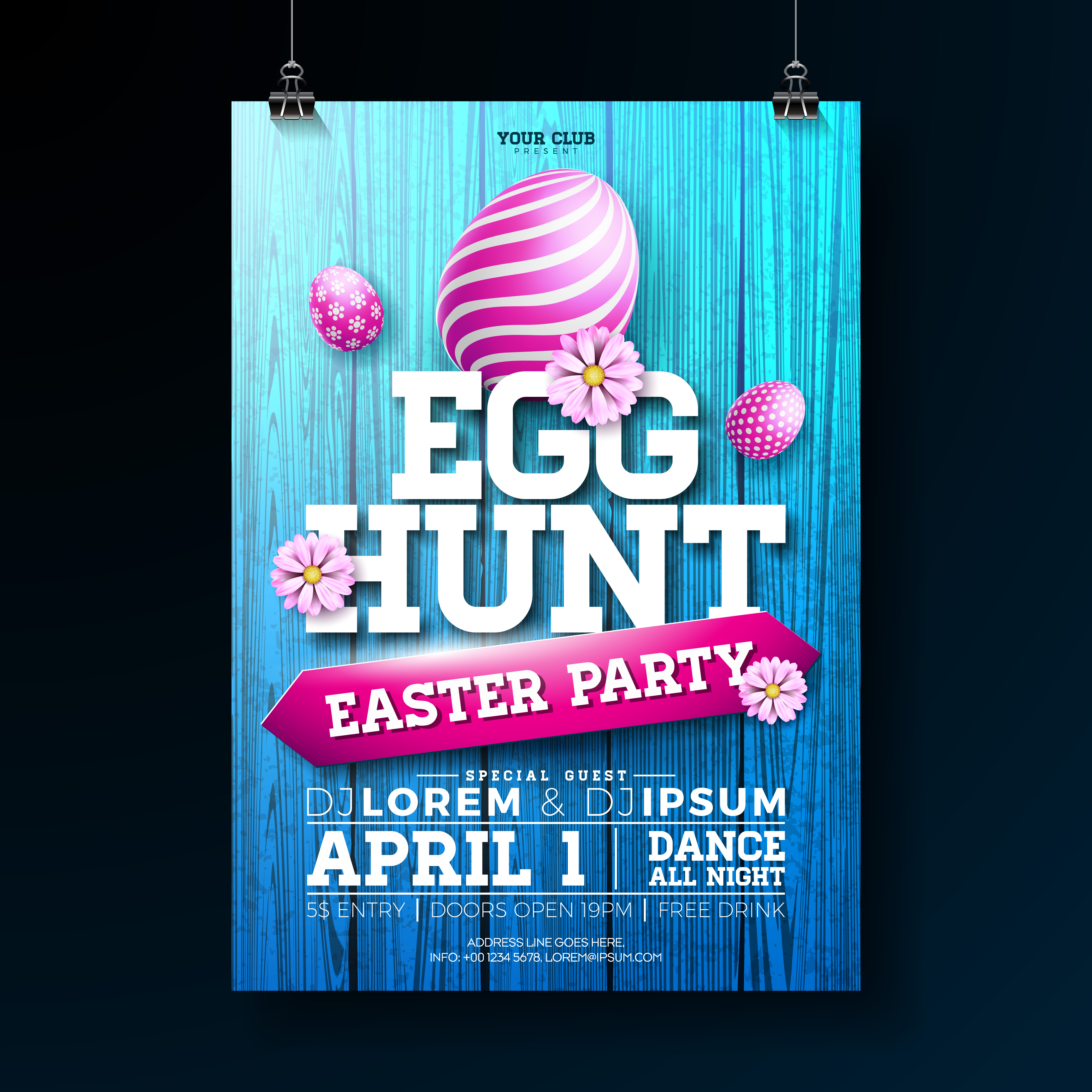 vector egg hunt easter party flyer illustration with painted eggs  flowers and typography