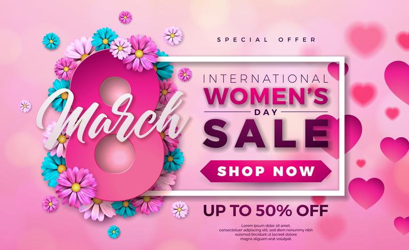 Womens Day Sale Design with Beautiful Colorful Flower on Pink Background vector