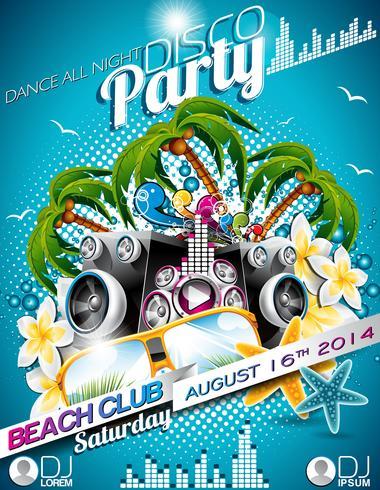 Vector discoteca Party Flyer Design com alto-falantes e óculos escuros sobre fundo azul