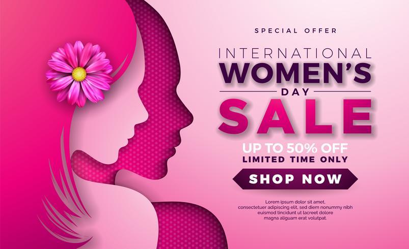 Womens dag verkoop ontwerp met mooie vrouw gezicht silhouet