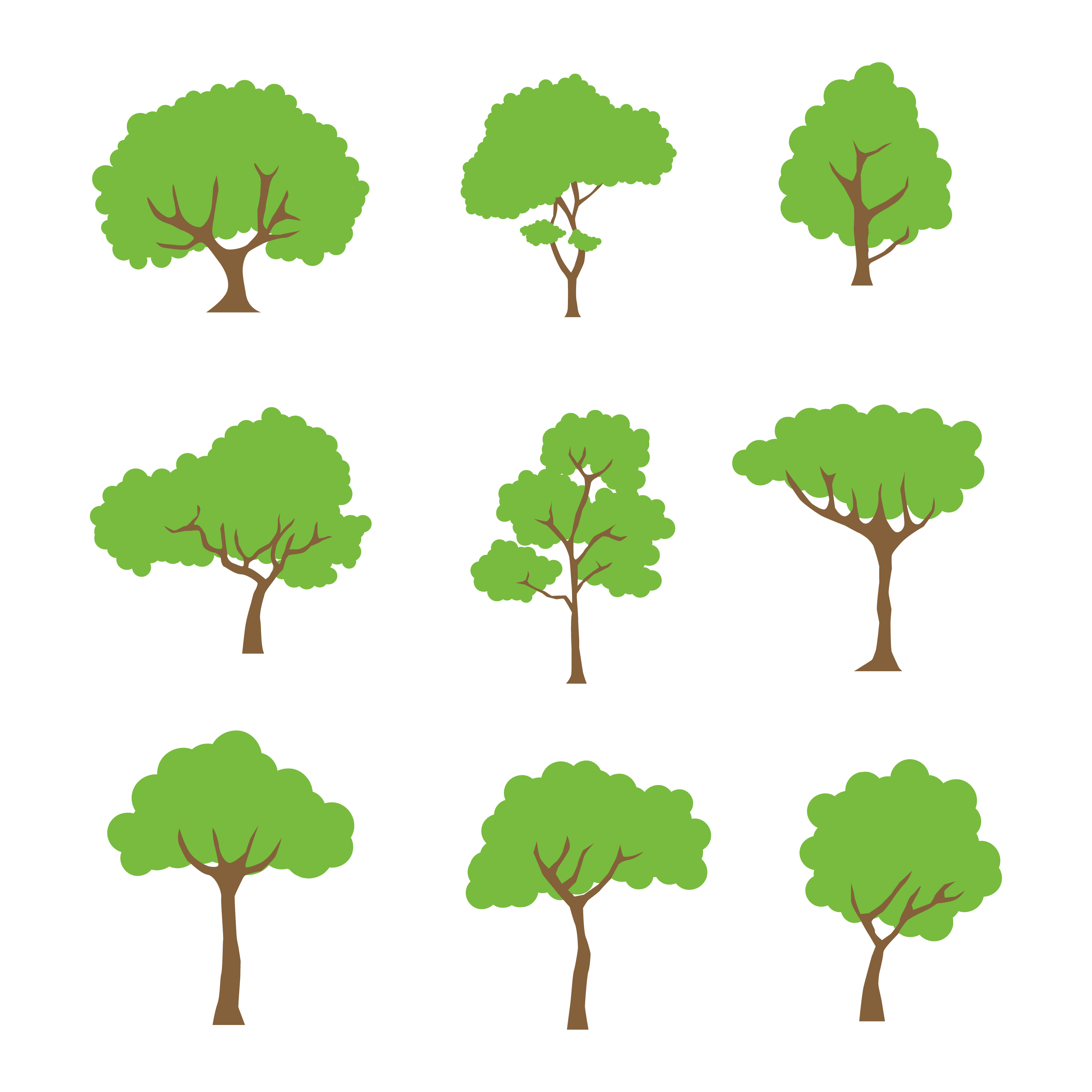 Tree Clipart Set Vector Collection - Download Free Vectors ...