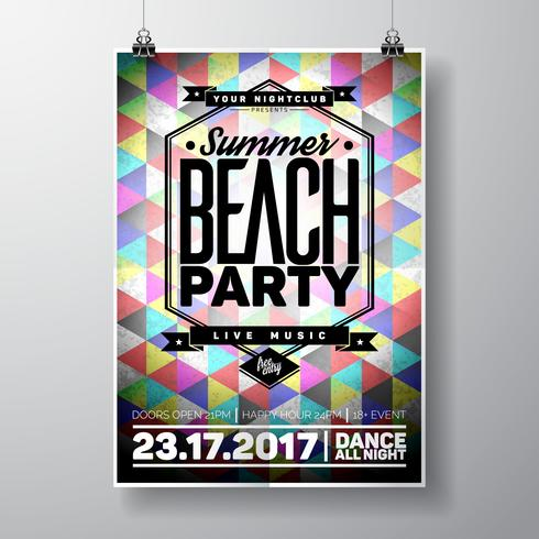 Vector Summer Beach Party Flyer Design con elementi tipografici e copia spazio