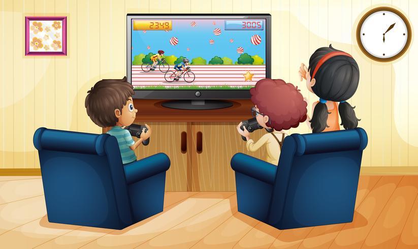 Jungen und Mädchen, die zusammen vdo Spiel spielen