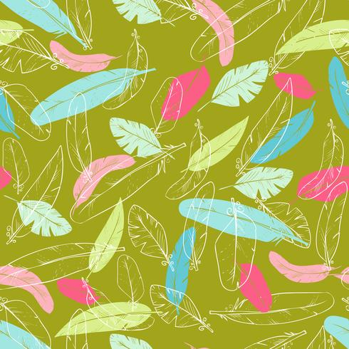 patrón transparente con plumas de cuervo s. color pastel vector