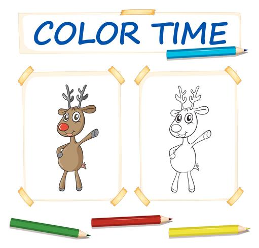Coloring template with reindeer standing