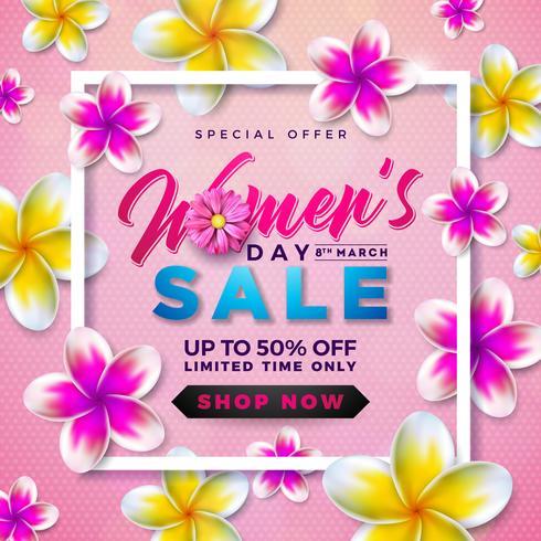 Diseño de la venta del día de las mujeres con hermosa flor colorida sobre fondo rosa vector