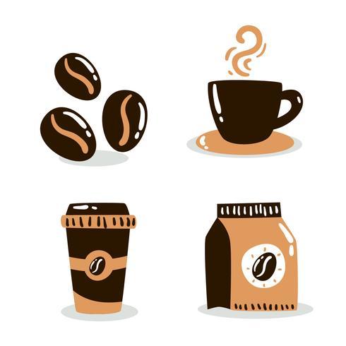 Hand gezeichneter Kaffee-Element-Vektor