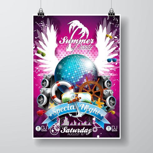 Vector Summer Beach Party Flyer diseño con bola de discoteca
