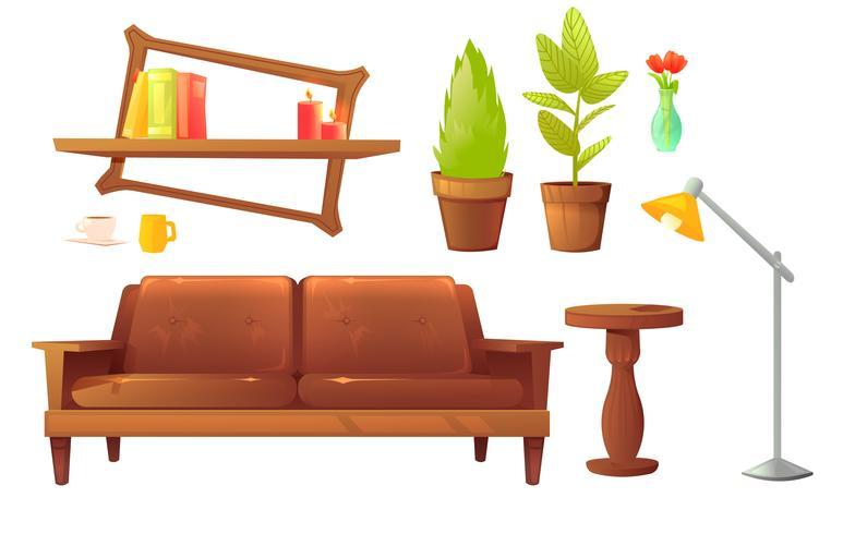 Conjunto de muebles de diseño.