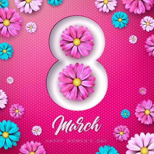 8 mars. Carte de voeux Floral Happy Womens Day. Illustration de la fête internationale