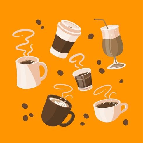Karikatur-Kaffee-Menü-Elemente Clipart gesetzter Vektor