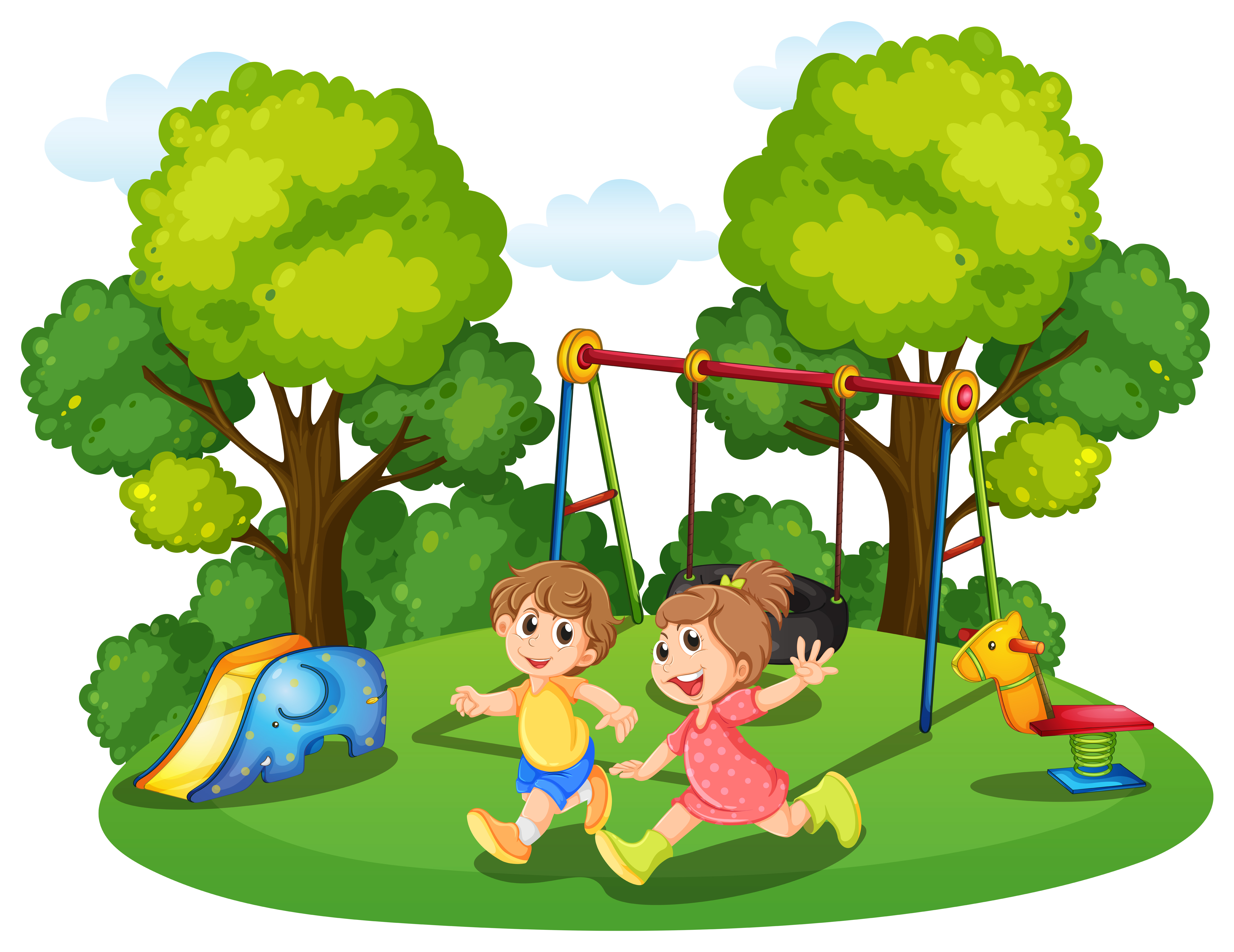 Two kids running in the park - Download Free Vector Art ...
