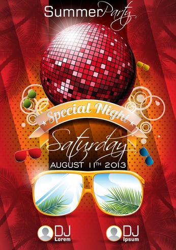 Vector Summer Beach Party Flygdesign med disco boll och solglasögon