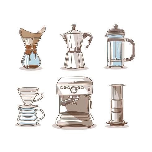 Hand Tekening Koffie Methode Elementen Clip Art Vector
