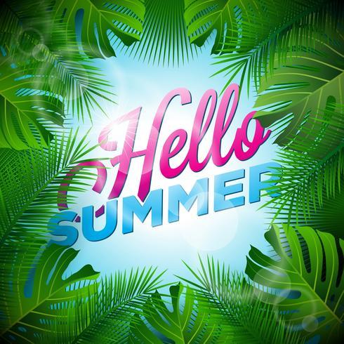 Vector illustration typographique Bonjour vacances d'été avec des plantes tropicales et la lumière du soleil sur fond bleu clair.