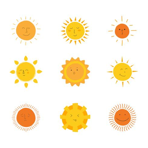 sol clipart set vektor samling