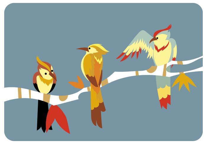 Three Birds on The Branch Vector