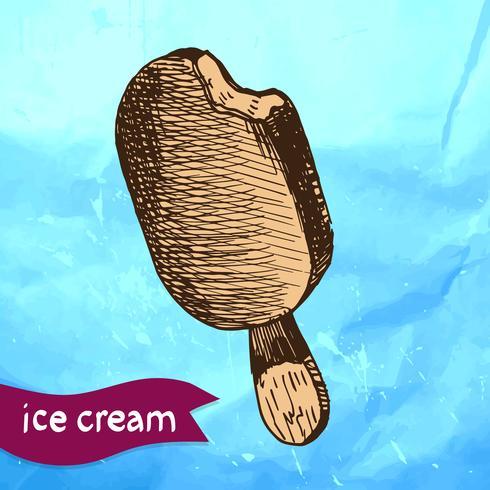 Doodle ice cream frozen dessert style sketch vector