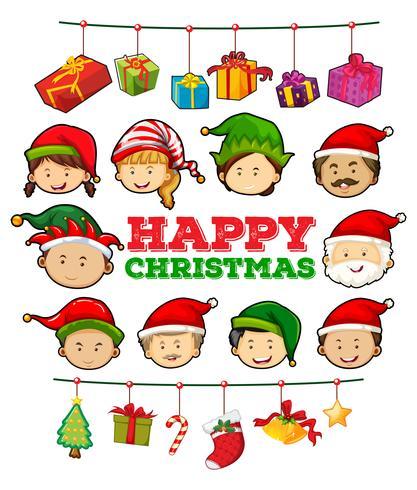 Modello di cartolina di Natale con ornamenti