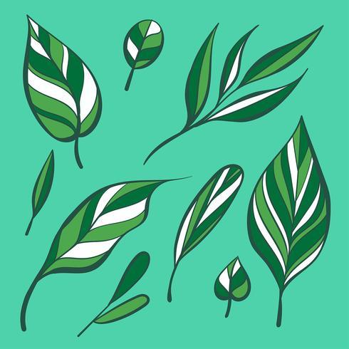 Hand, die manuelles Grün verlässt Clipart-gesetzten Vektor