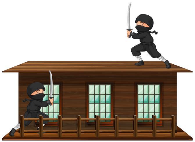Ninja avec une épée sur le toit