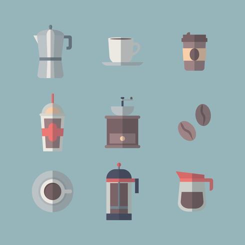 Set Kaffee-Ikonen mit Schatten