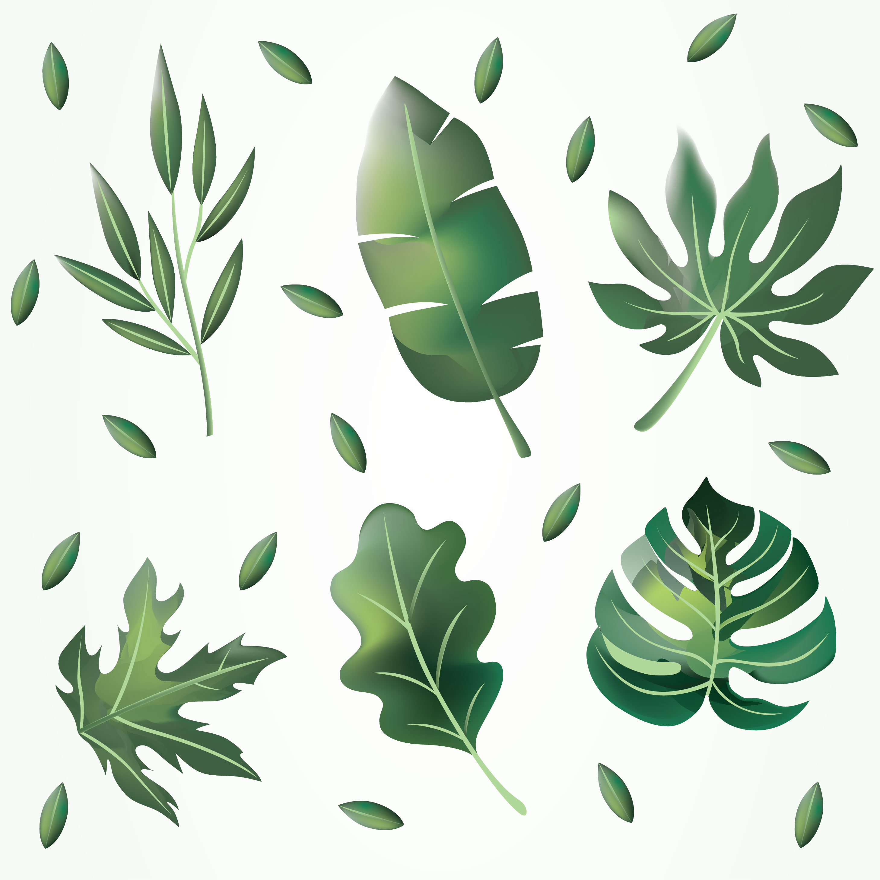 Green Leaves Clipart Vector Pack - Download Free Vectors ...