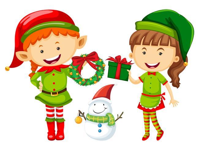 Elf en vrouw met kerstcadeautjes