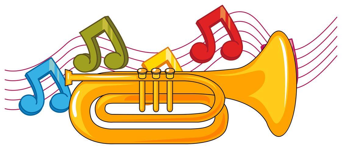 Tromba e note musicali in sottofondo