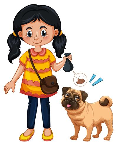 A Girl Cleaning Dog Poop vector