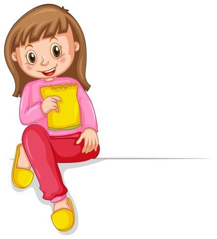 Glad tjej med gul påse med mellanmål