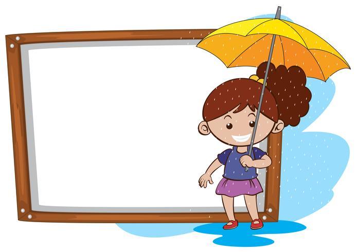 Plantilla de borde con niña y paraguas amarillo