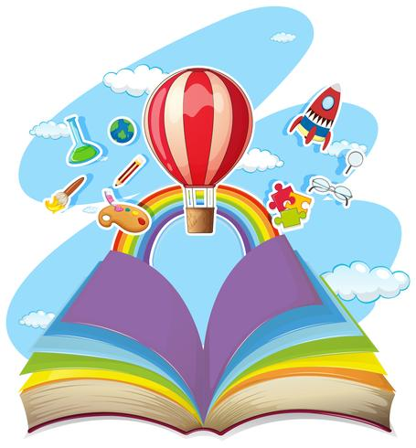 Buntes Buch mit Ballon im Himmel