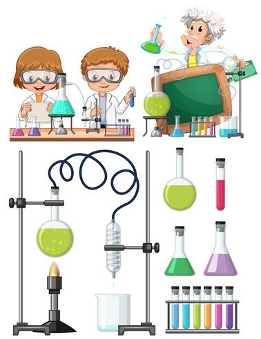 Scientist Researching in Laboratory vector