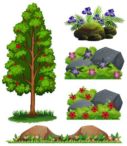 Un insieme di elementi forestali vettore