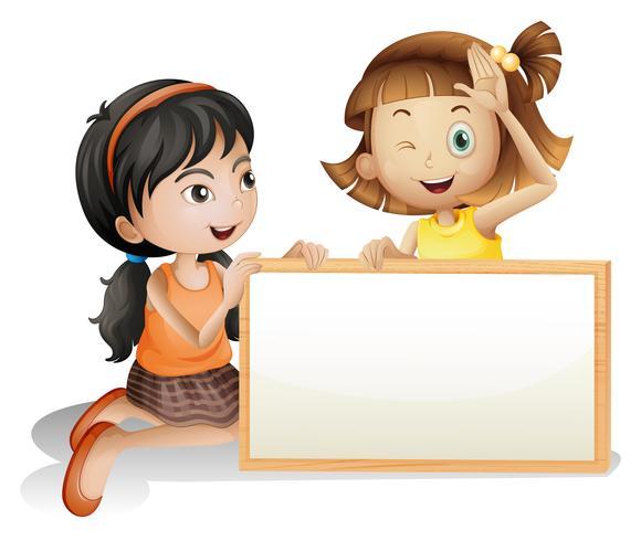 Due ragazze con un bordo bianco in bianco