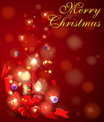 Joyeux Noël carte avec des bougies sur fond rouge