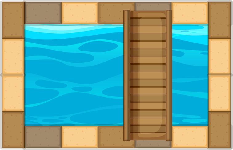 Schwimmbad mit Holzbrücke