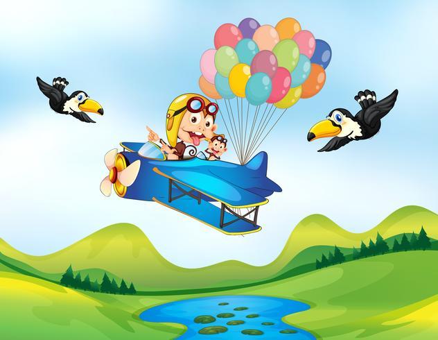 Mono y helicoptero