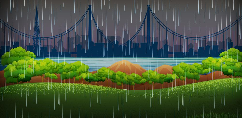 Background scene with raining in the park