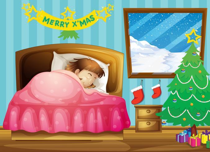 Une fille dort dans sa chambre avec un sapin de Noël