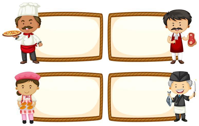 Modèle de cadre avec chef et boulanger