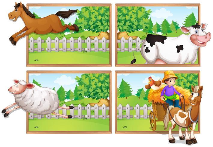 Nutztiere und Bauer auf dem Wagen