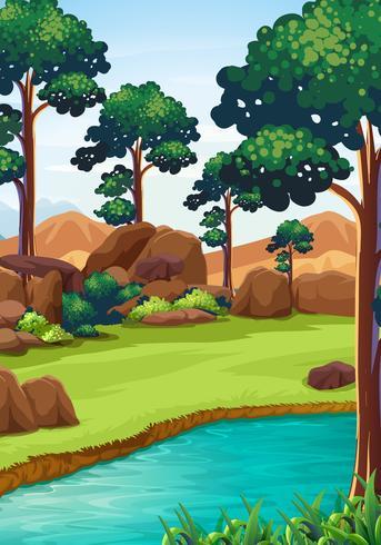 Waldszene mit Fluss und Feld