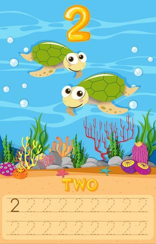 Hoja de trabajo de número de dos tortugas marinas