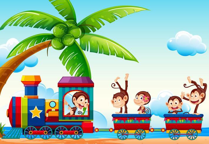 Zug und Affen