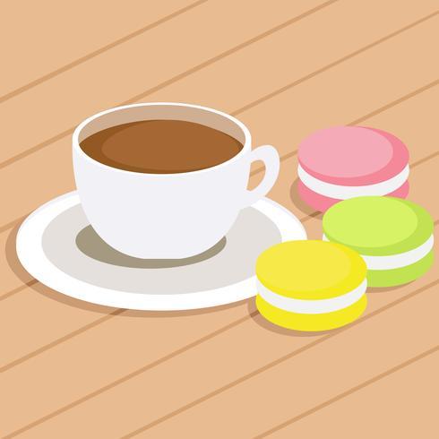 Kaffee und drei verschiedene farbige Makronen auf Tabelle. Flache Vektor-Illustration